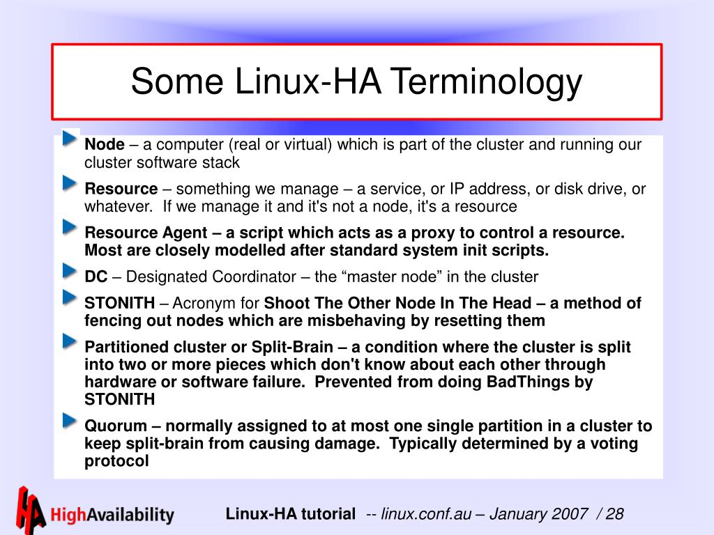 Some Linux-HA Terminology