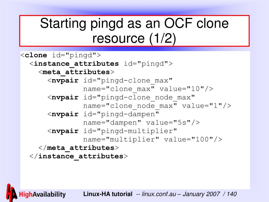 Starting pingd as an OCF clone resource (1/2)