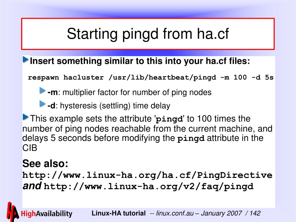 Starting pingd from ha.cf
