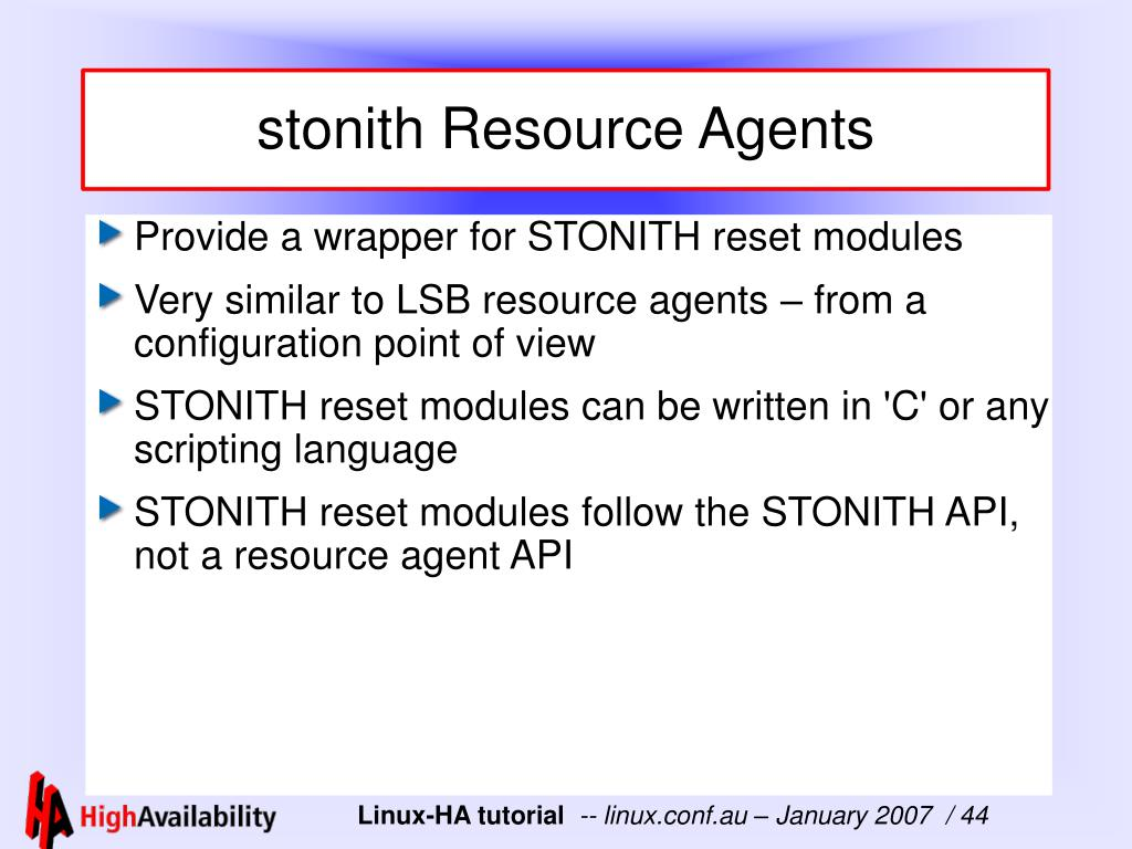 stonith Resource Agents