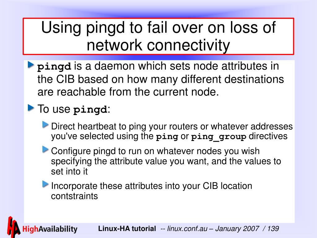 Using pingd to fail over on loss of network connectivity