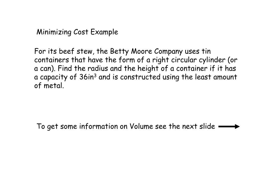 Minimizing Cost Example