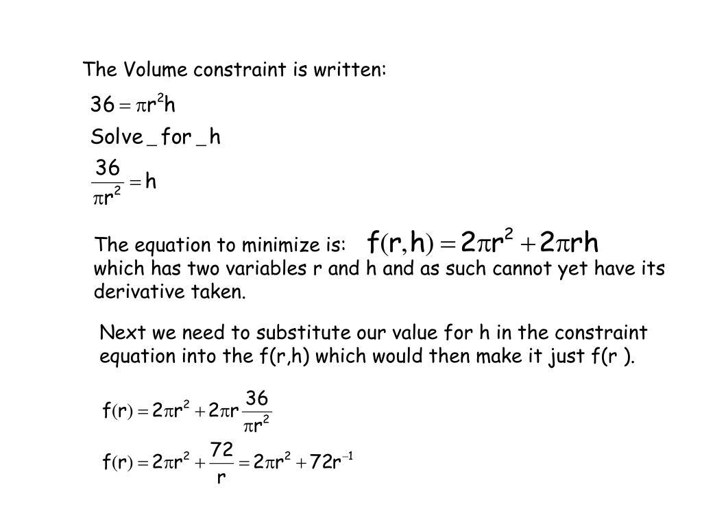 The Volume constraint is written: