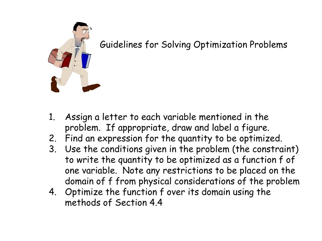 Guidelines for Solving Optimization Problems