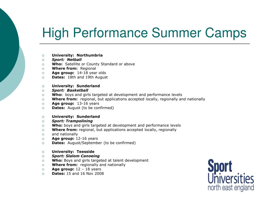 High Performance Summer Camps