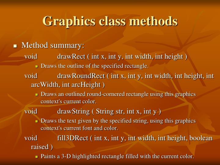 Graphics class methods