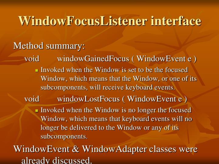 WindowFocusListener