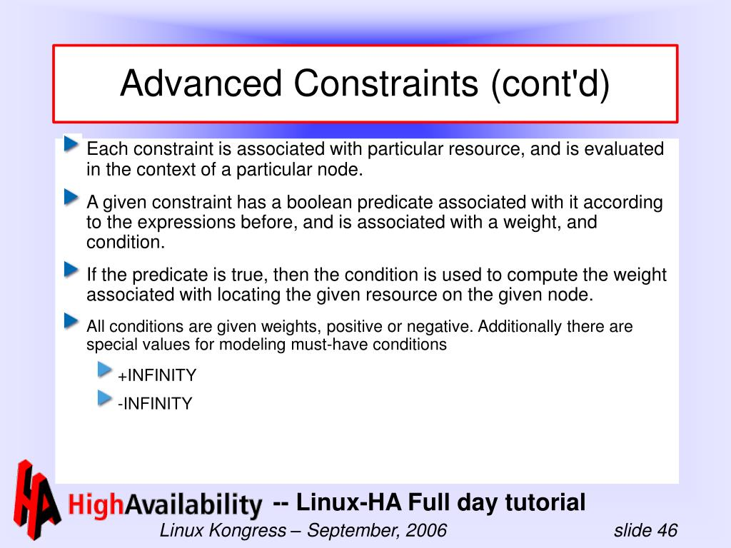 Advanced Constraints (cont'd)