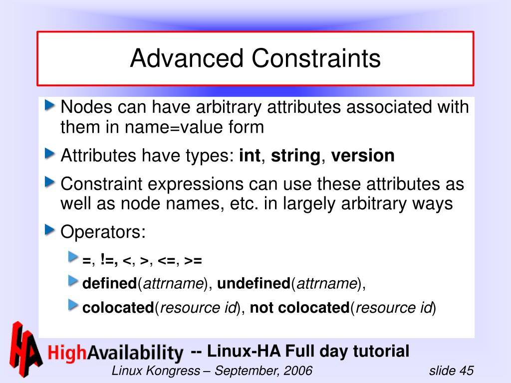Advanced Constraints