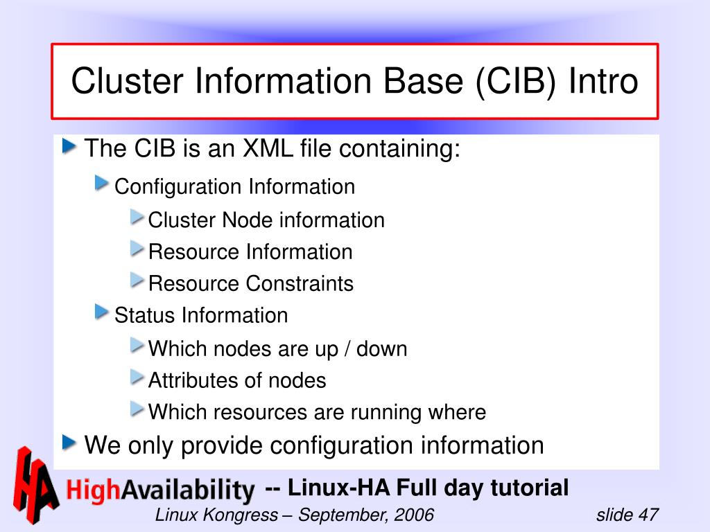 Cluster Information Base (CIB) Intro
