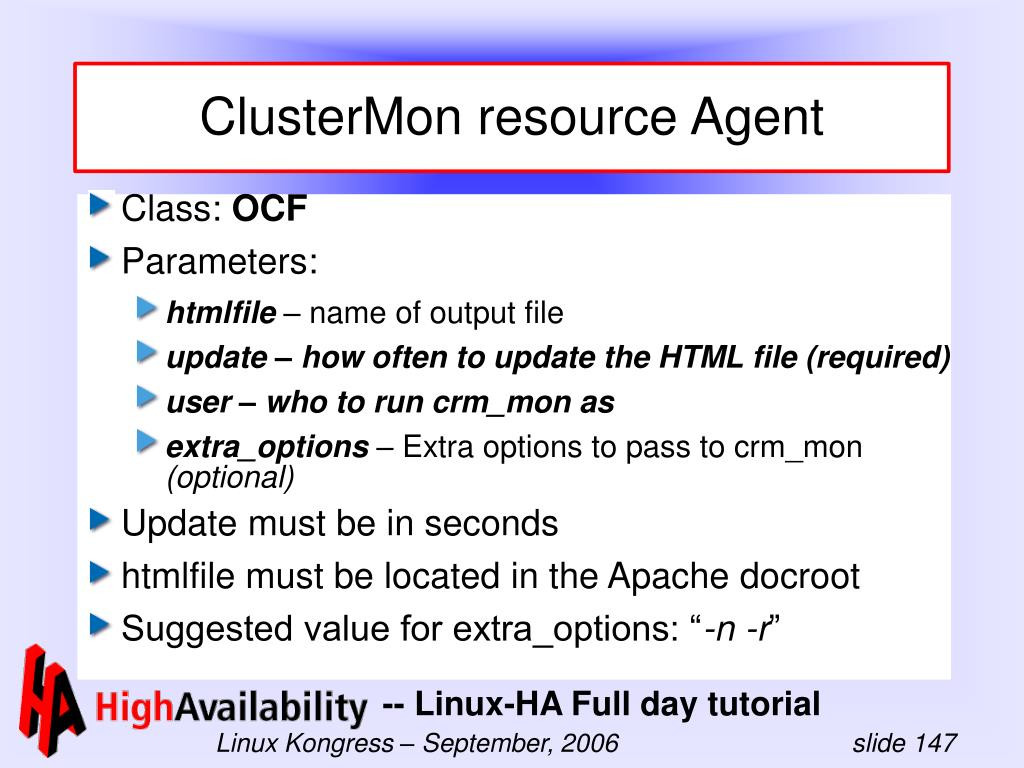 ClusterMon resource Agent