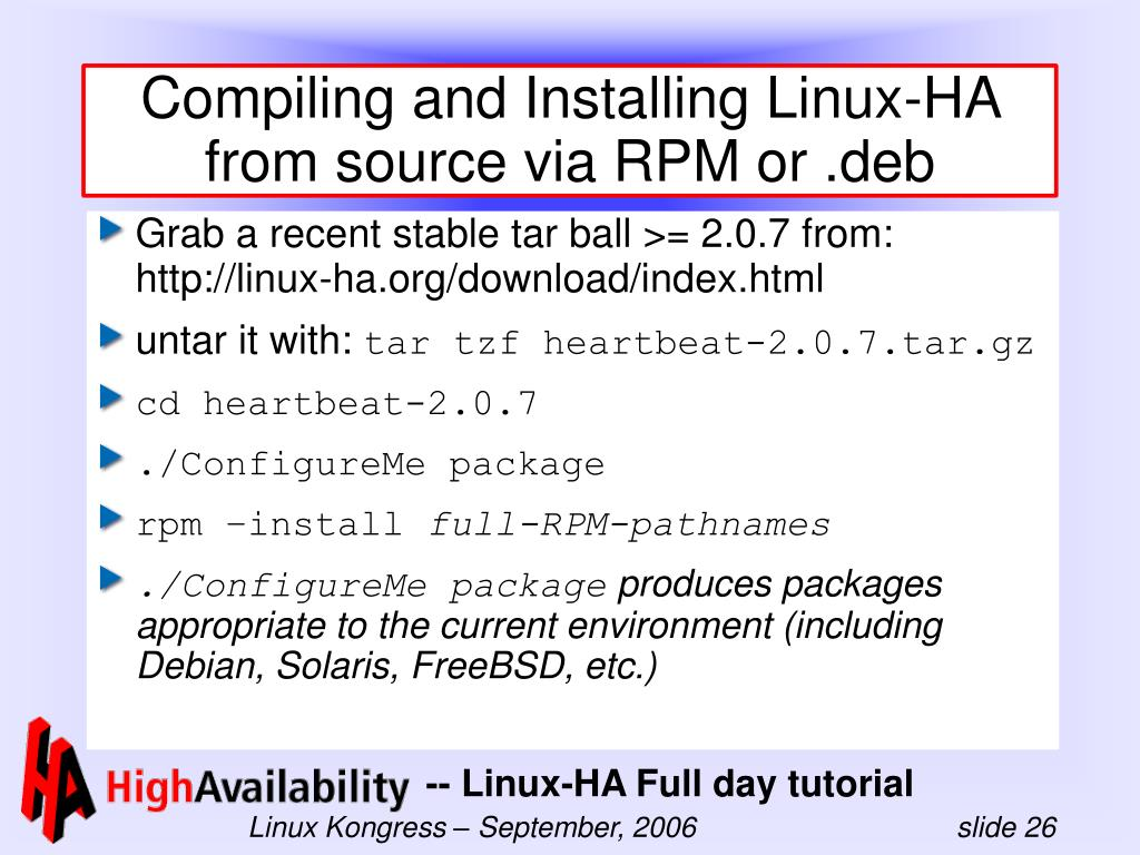 Compiling and Installing Linux-HA from source via RPM or .deb
