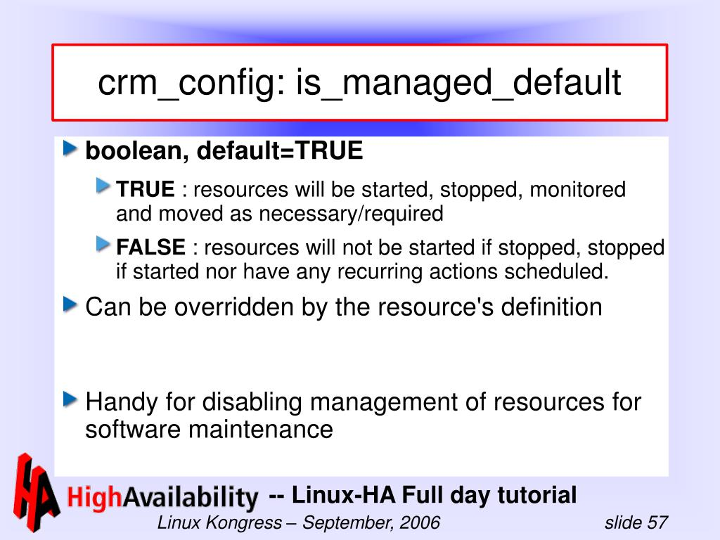 crm_config: is_managed_default