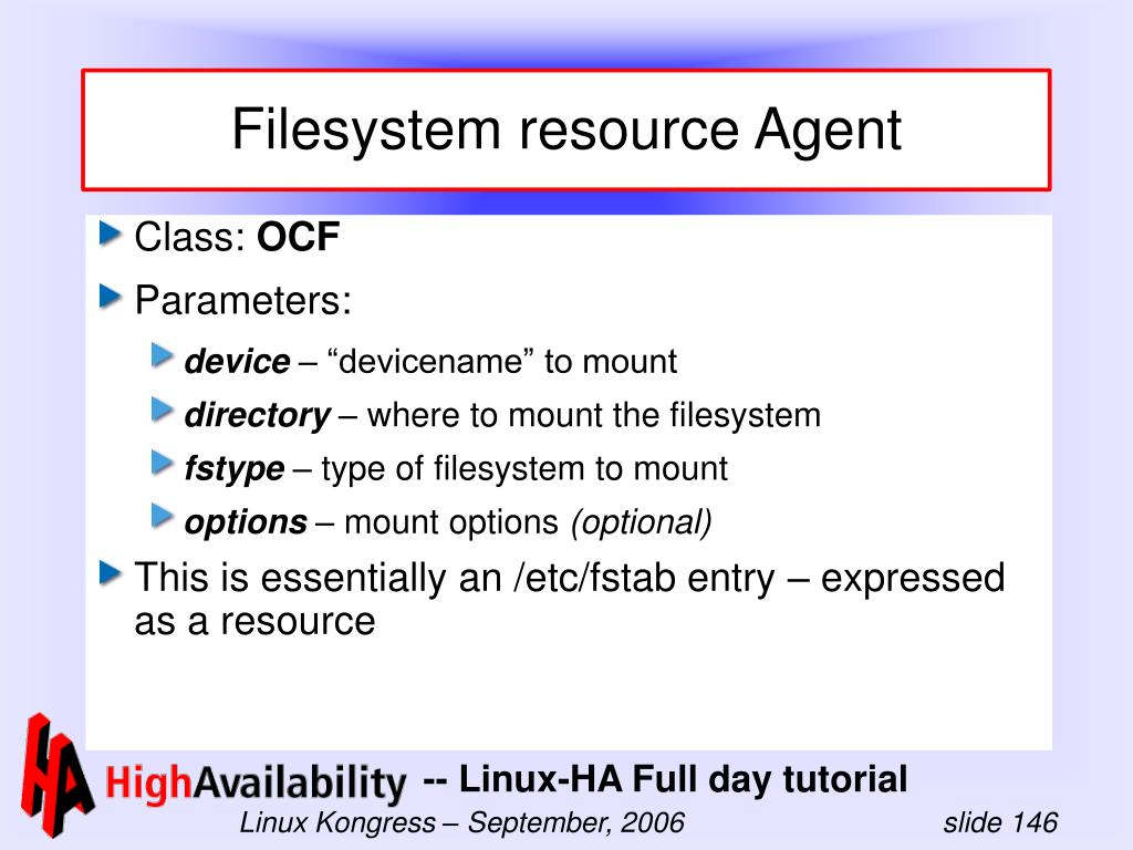 Filesystem resource Agent
