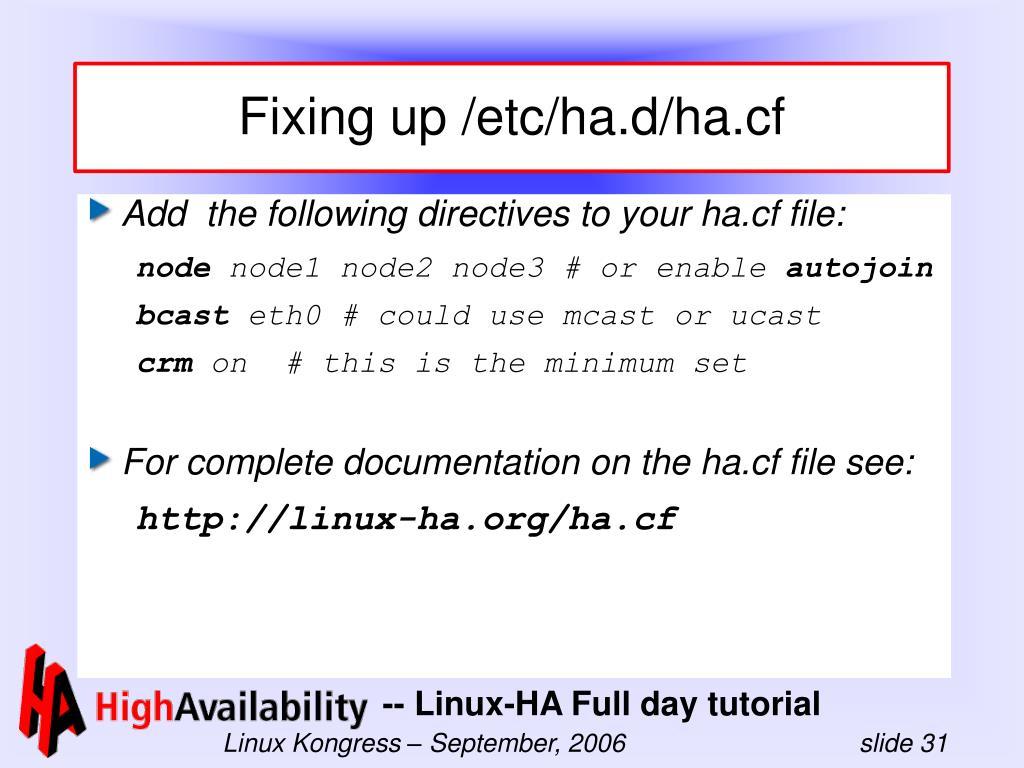 Fixing up /etc/ha.d/ha.cf