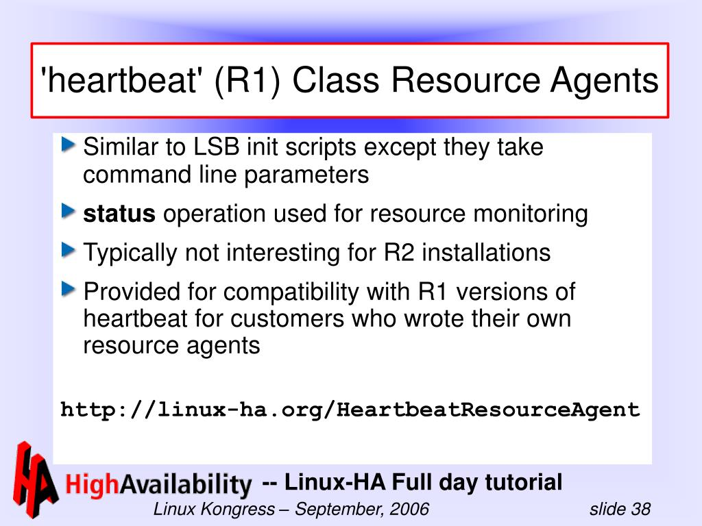 'heartbeat' (R1) Class Resource Agents