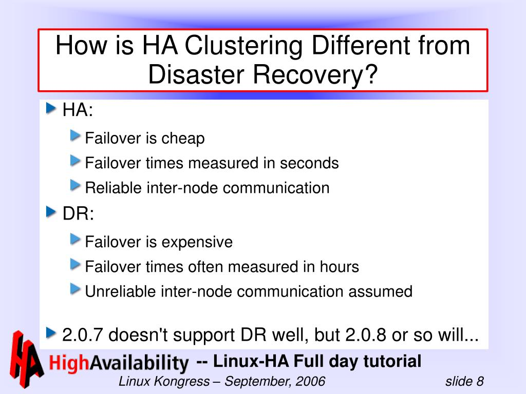 How is HA Clustering Different from Disaster Recovery?