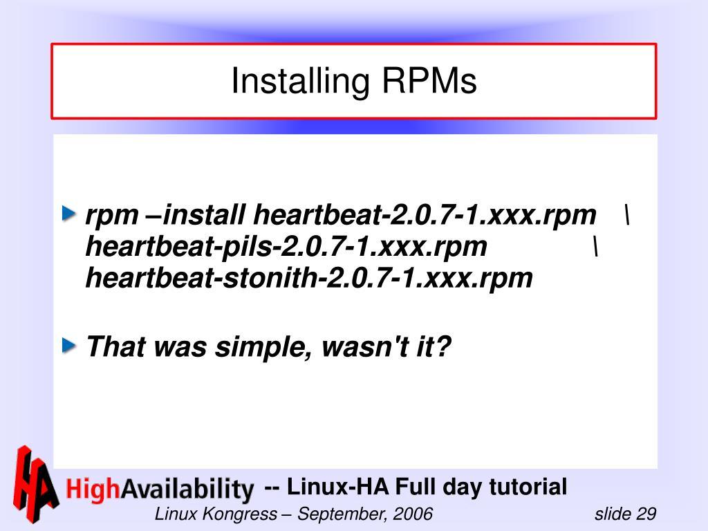 Installing RPMs