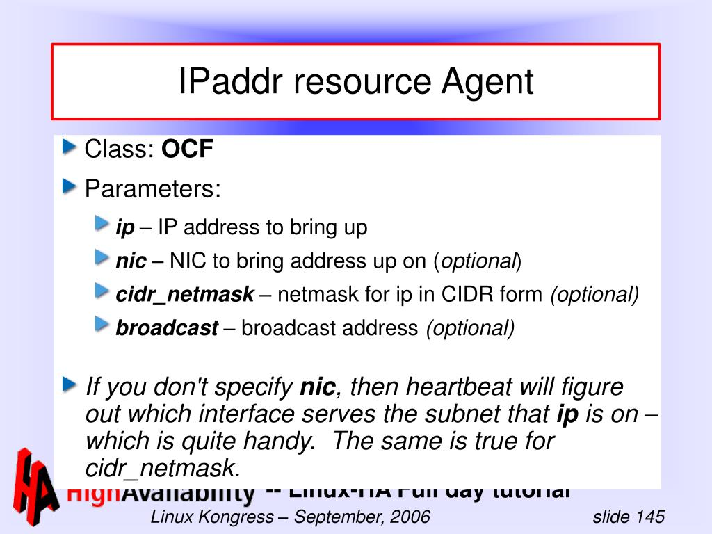 IPaddr resource Agent