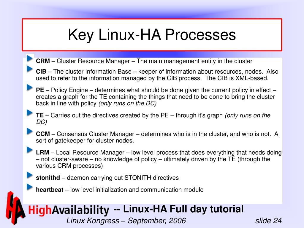 Key Linux-HA Processes