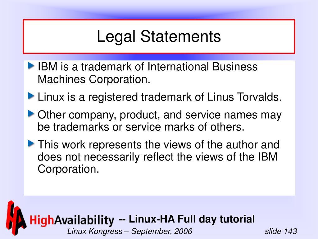 Legal Statements