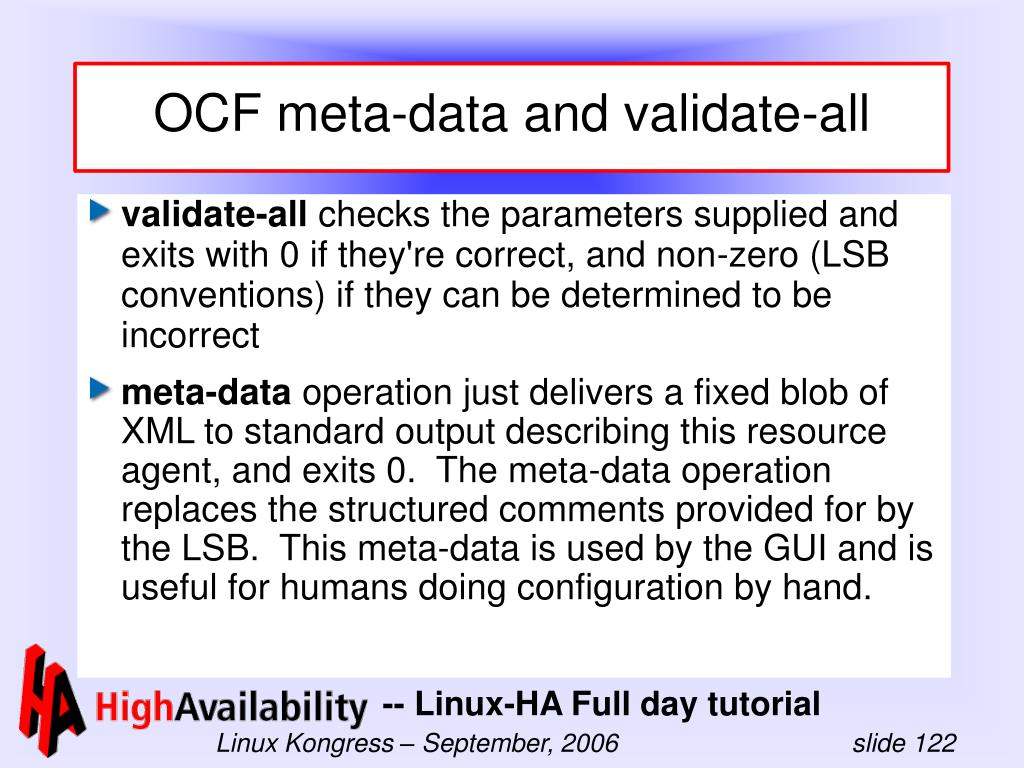 OCF meta-data and validate-all