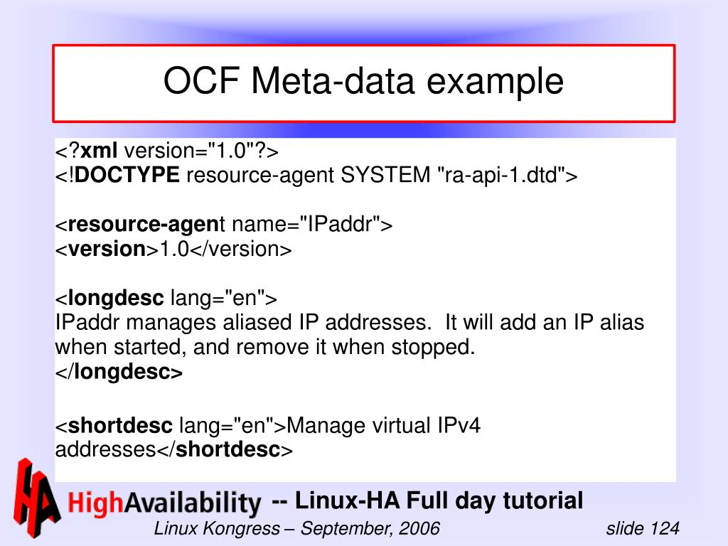 OCF Meta-data example