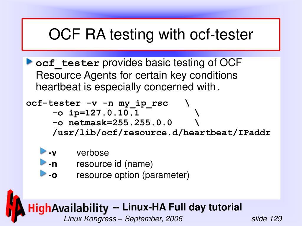 OCF RA testing with ocf-tester