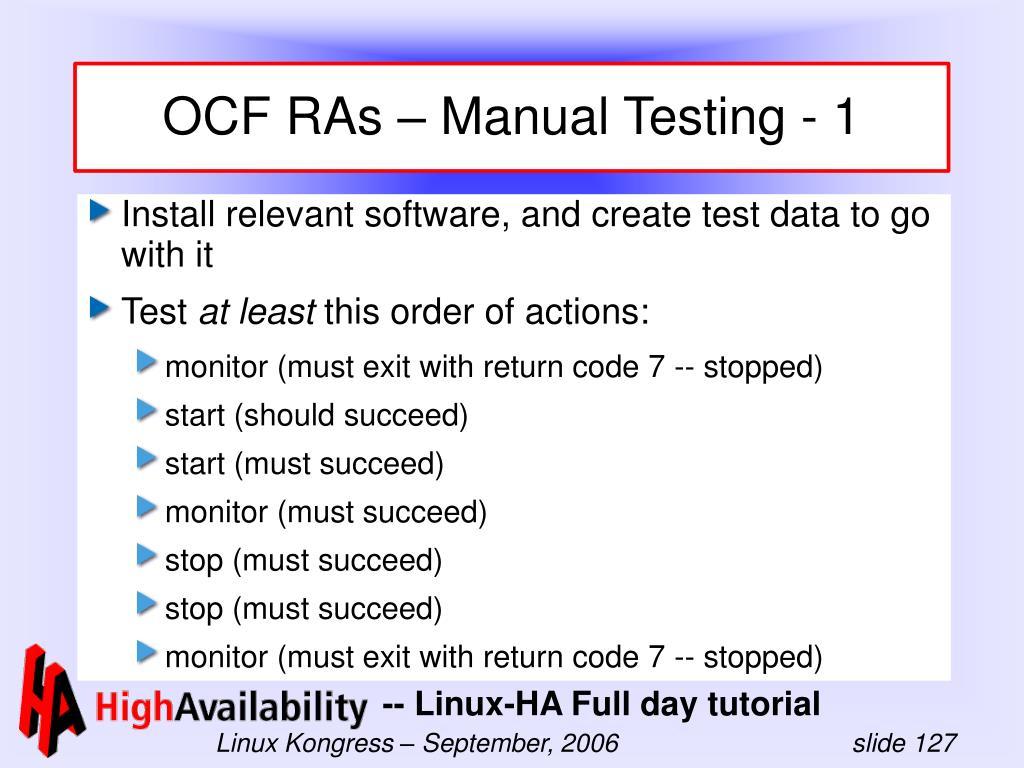OCF RAs – Manual Testing - 1