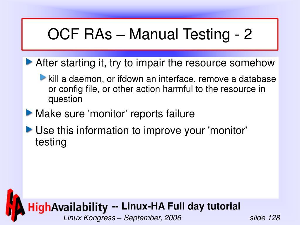 OCF RAs – Manual Testing - 2