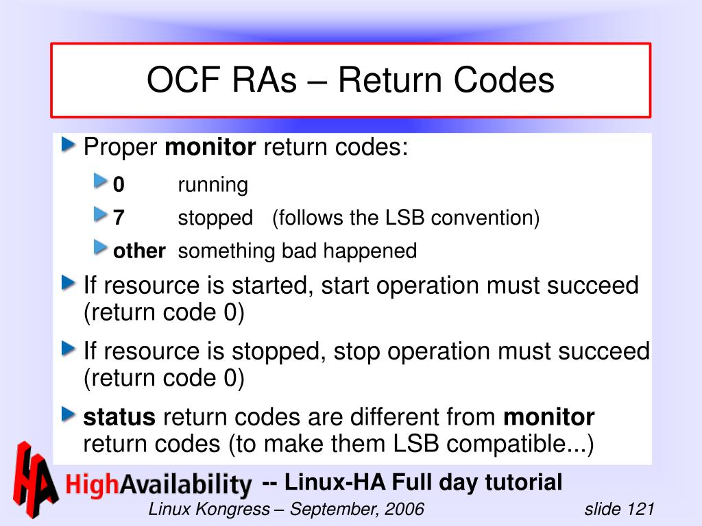 OCF RAs – Return Codes