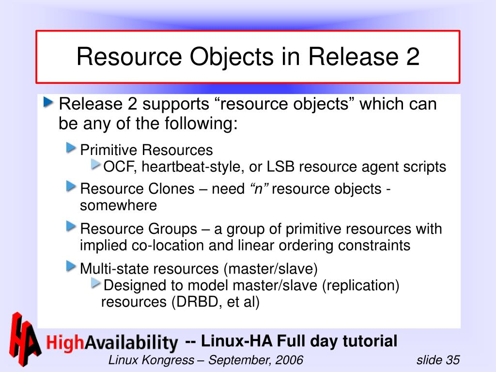 Resource Objects in Release 2
