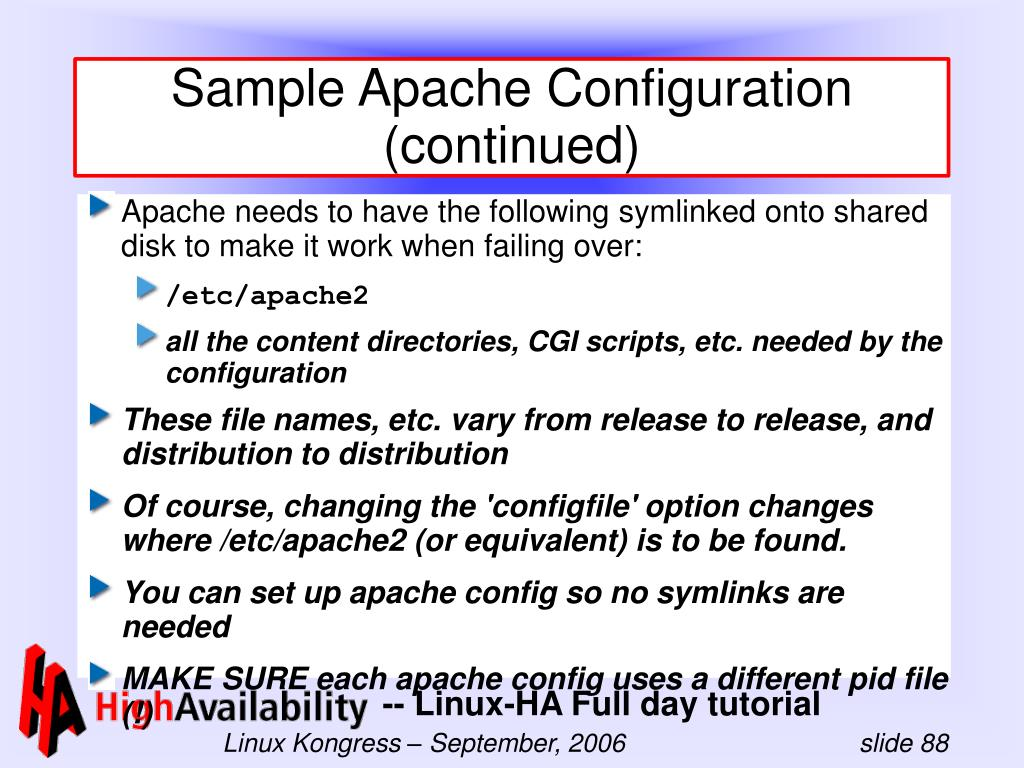 Sample Apache Configuration (continued)