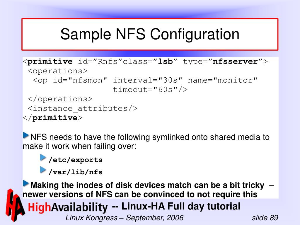 Sample NFS Configuration