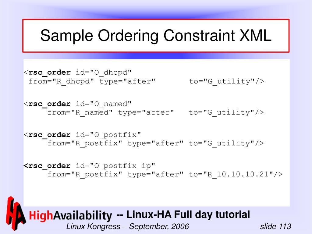 Sample Ordering Constraint XML