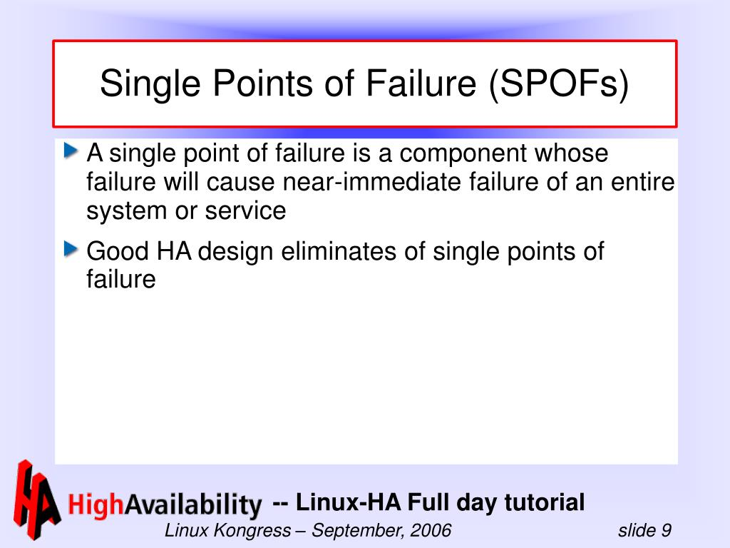 Single Points of Failure (SPOFs)