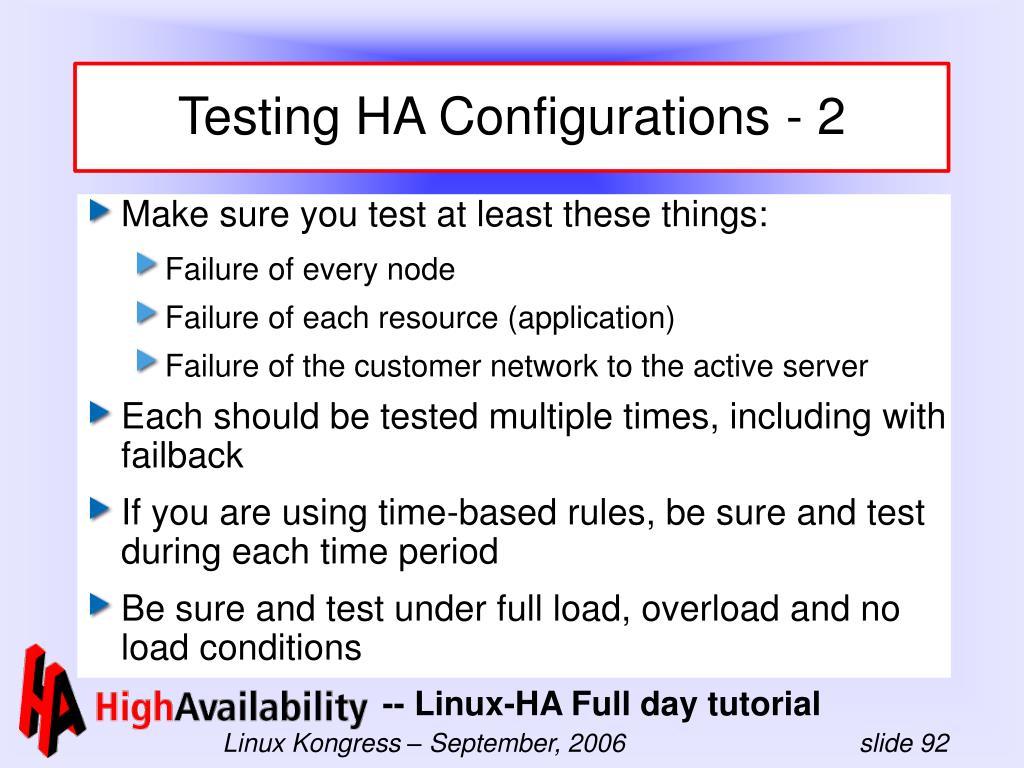 Testing HA Configurations - 2