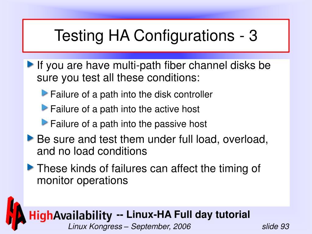 Testing HA Configurations - 3