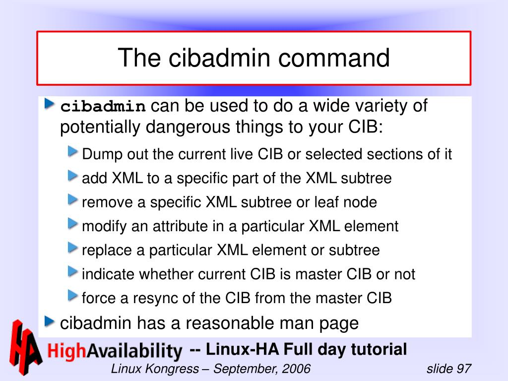 The cibadmin command
