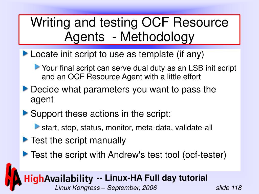 Writing and testing OCF Resource Agents  - Methodology