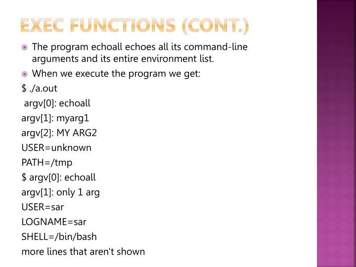 Exec functions (Cont.)