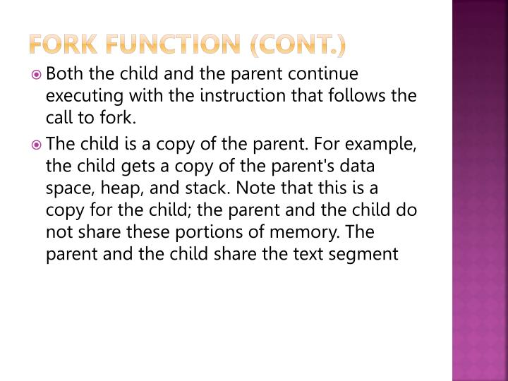 Fork function (cont.)
