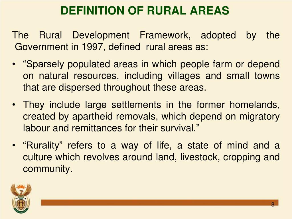 DEFINITION OF RURAL AREAS