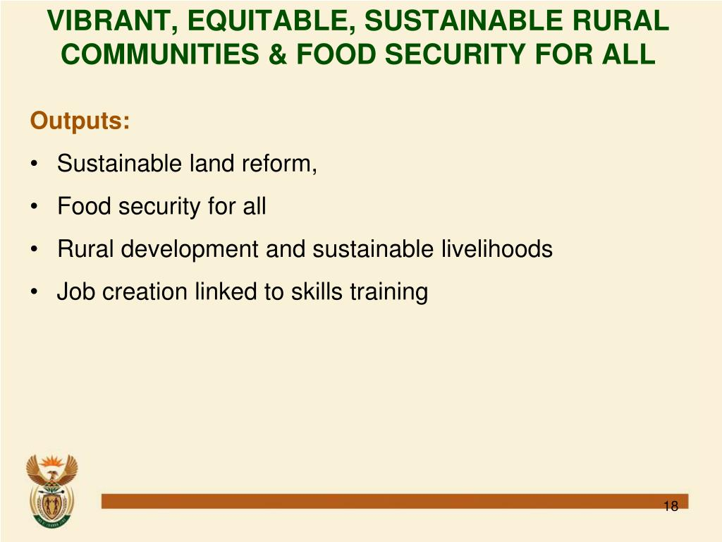 VIBRANT, EQUITABLE, SUSTAINABLE RURAL COMMUNITIES & FOOD SECURITY FOR ALL