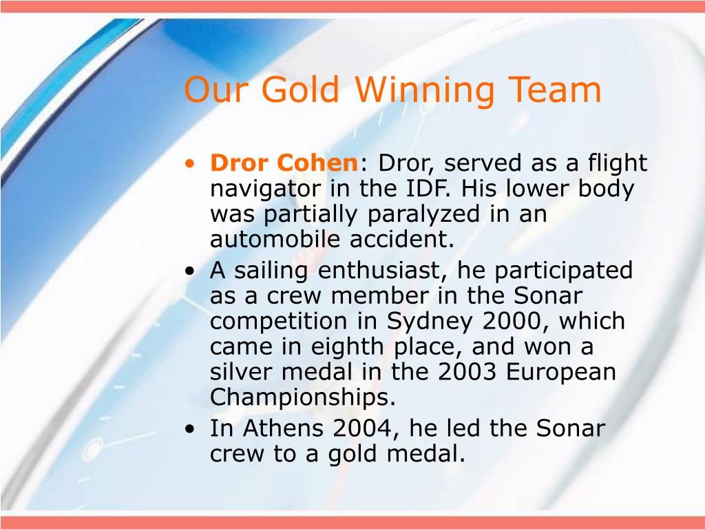 Our Gold Winning Team