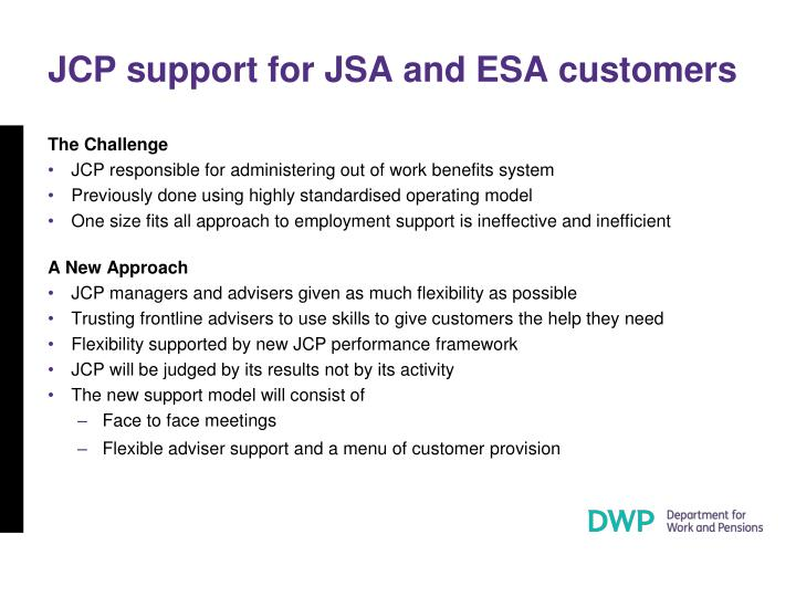 JCP support for JSA and ESA customers