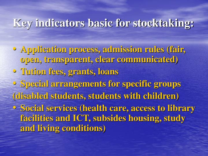 Key indicators basic for stocktaking: