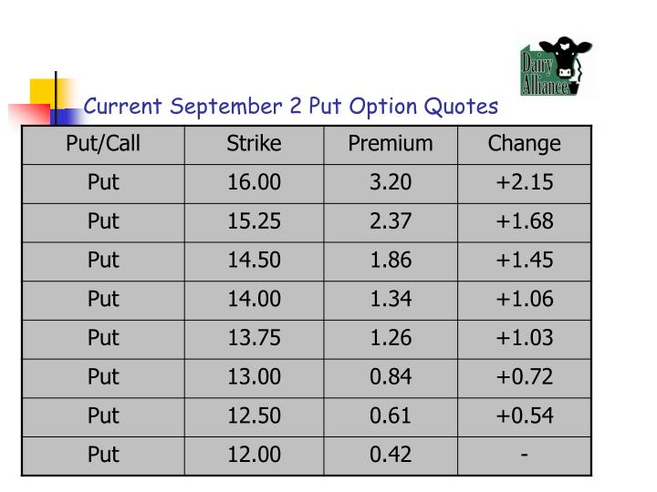 Current September 2 Put Option Quotes
