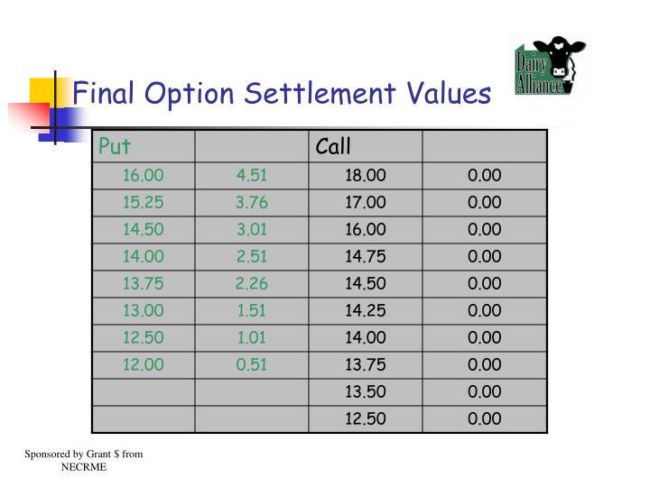 Final Option Settlement Values
