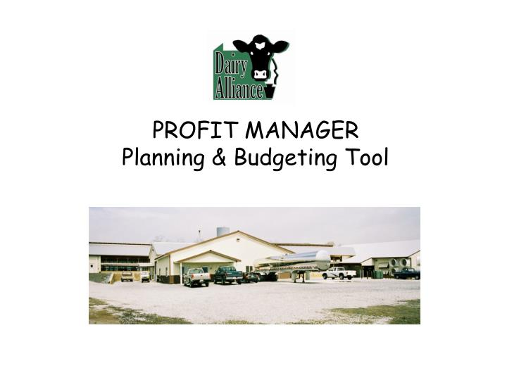 PROFIT MANAGER Planning & Budgeting Tool
